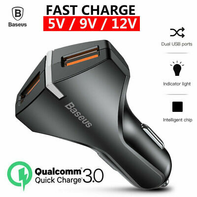 QC3.0 Fast Car Charger Dual USB For Samsung Galaxy S9 PLUS S8 Note 9 8 iPhone XS