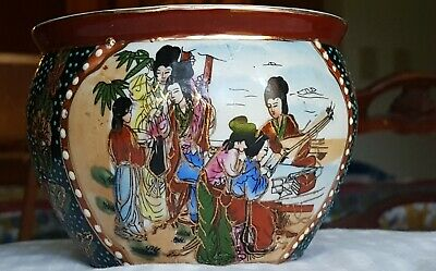 ANTIQUE  CHINESE HAND PAINTED PORCELAIN MORIAGE PLANTER BOWL PLANT POT RED Stamp