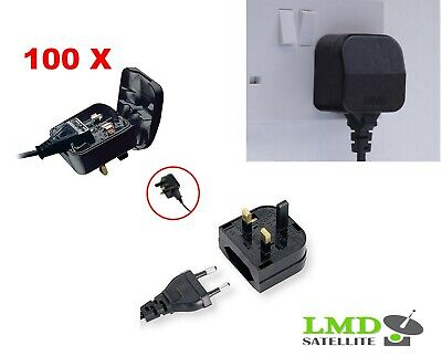 100X European 2 Pin to UK 3 Pin Main Power Plug Adapter Black  with 5A Fused UK