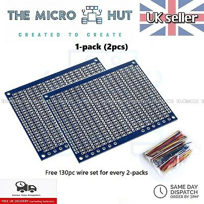 2-Pcs Single Sided 9x7cm Breadboard PCB Veroboard Vero Strip Prototype Universal