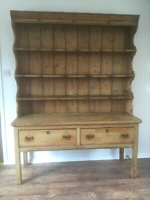 Antique Victorian Large Pine Dresser brass handle drawers - detached top & base