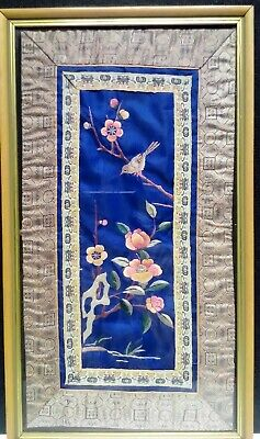 Vintage Japanese Embroidered Silk Panel. Birds And Blossom. Framed