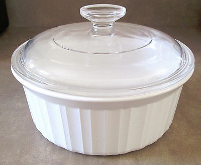 Corning Ware French White Casserole F-5-B (1.6 Liter) With Lid