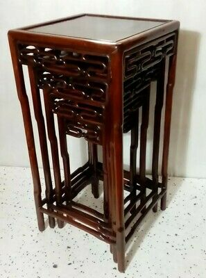 ANTIQUE CHINESE STACKING TABLES. QING. c1880. Carved Wooden Nesting Tables