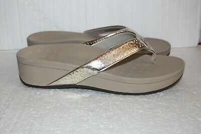 7113e8334b10 VIONIC Flip Flops Sandals ZUMA Gold Cut out pattern SIZE 10 WIDE WIDTH  Women NEW