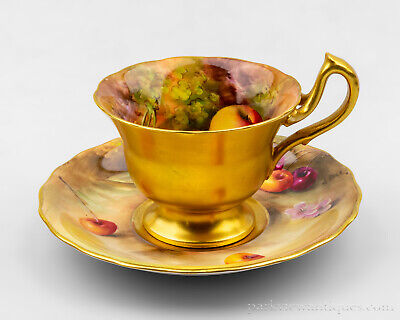 Royal Worcester Hand Painted Fruit Cup & Saucer by H. Aryton & W. Bee C. 1932
