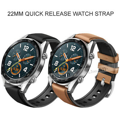 22mm Leather Silicone Watch Band For Samsung Galaxy 46/S3/Huawei GT/Amazfit 2S