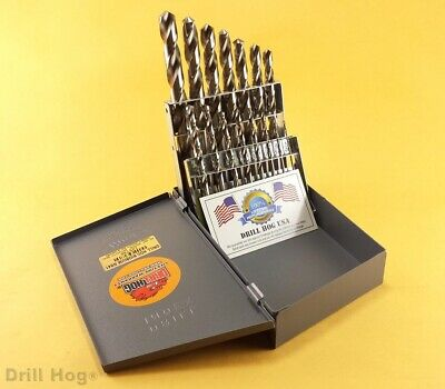 Drill Hog® USA 15 Pc Drill Bit Set Metal Index Niobium Nb41 Lifetime Warranty