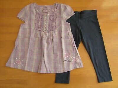 Next Lilac Sequin Embroidered Butterfly Tunic Top & Navy Leggings Outfit - Age 5