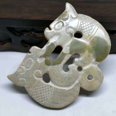 NEW LISTING ,Chinese natural old jade carved,Ancient dragon card pendant A3267