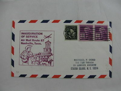FFC first Flight USA America Route 87 pair stamps Nachville Memphis 1968