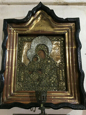 Antique Hand Painted Icon embroidered salary with Kiot