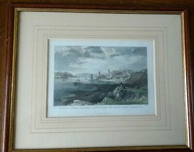 Antique Framed Colour Print North And South Shields From Tynemouth Rocks 1832
