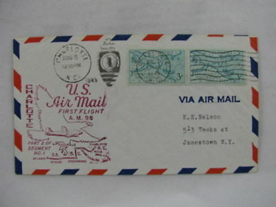 FFC first Flight USA America AM-98 pair stamps Charlotte Atlanta 1949