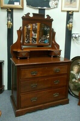 Art Nouveau Mahogany Dressing Table Bedroom Chest Of Drawers Bevel Ornate Mirror