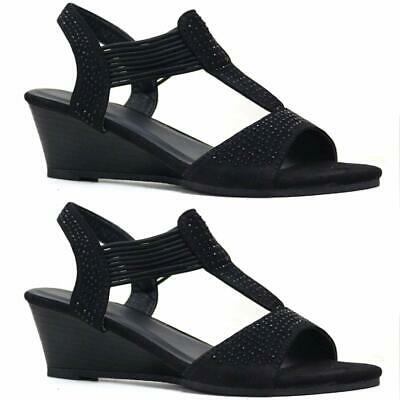 Ladies Wedge Sandals Womens Summer Strappy Party Dress Evening Fancy Shoes Size