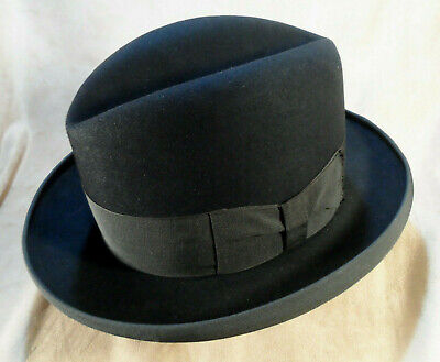 Vintage 1950's Cavanagh Black Homburg Fedora -- Sz 7 3/8 -- Sold As Is