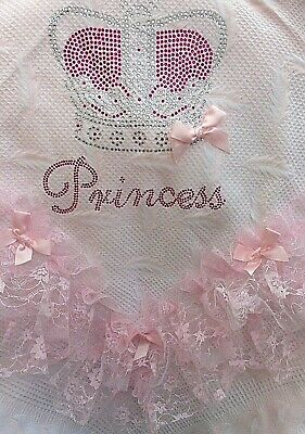 Romany Baby Girl Pink Shawl - Pink Lace/Ribbon With Bling Princess Design