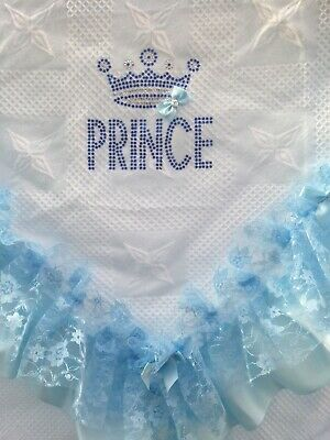 Romany Baby Blue Shawl - Blue Lace/Ribbon With Bling Prince Design - Gorgeous!!!