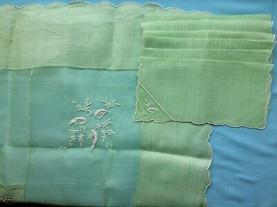 "Mint Green Organza/Linen Embroidered Tablecloth 48.5 x50"" & 6 Napkins 10 3/4"""