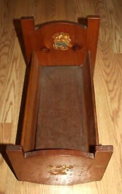 Vintage 1950's Handmade Wooden Rocking Baby Doll Bed 20.5 X 12 X 15""