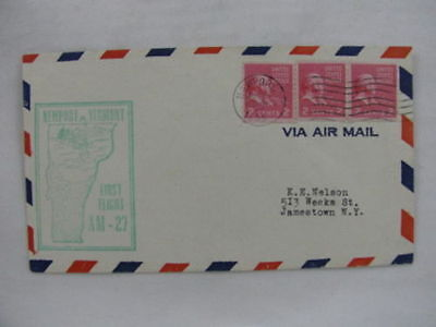 FFC first Flight USA America AM-27 pair stamps New Port New York 1955