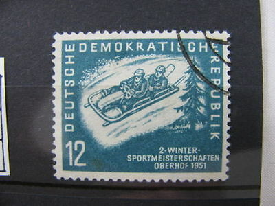 Stamp Briefmarke Germany DDR bobsledding Wintersport meisterschaften Used 1951