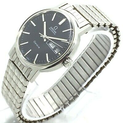 Vintage Omega Automatic Geneve Blax Dial Day Date 34Mm Mens Wrist Watch A1791