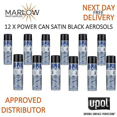 12 X U-Pol Power Can Aerosols 500Ml Upol Spray Paint Rattle Cans - Satin Black
