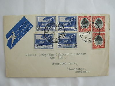 airmail par avion cover South Africa 7 stamps! Capetown Kaapstad 1953