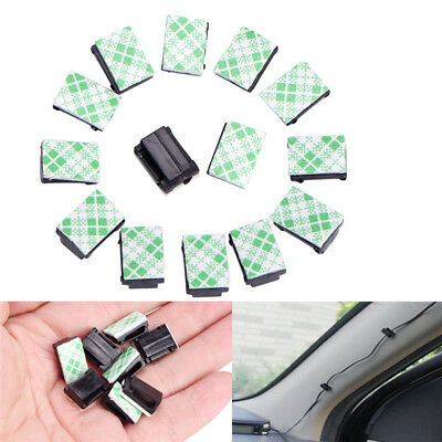 50Pcs Wire Clip Black Car Tie Rectangle Cable Holder Mount Clamp self adhesi H^H