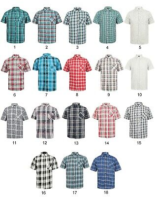 Mens Shirt Short Sleeve Check New Cotton Blend Lightweight Summer Holiday Beach