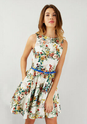 Closet London Size 16 Cream Floral Belted Sleeveless Retro Skater Dress BNWT