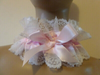 Adult Baby  Pink  Satin  Sissy  Collar  Frilly Lace Trim Satin  Bows