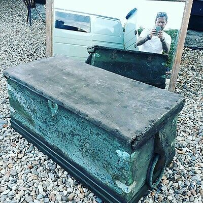 early 19th century painted sea chest trunk pirates of carribean Coffee table