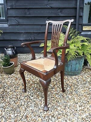 georgian oak chippendale carver armchair