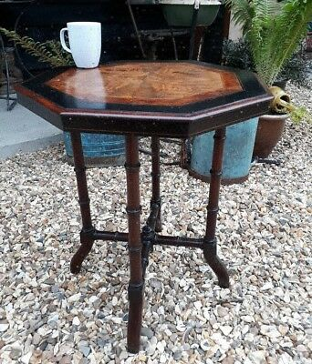 fantastic inlaid burr walnut ebony elm occasional lamp table