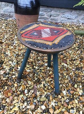 Victorian Arts And Crafts Period Beech Three Legged Milking Stool