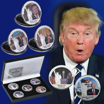 WR US President Donald Trump Silver Foil Coins Gift Set In Box Collection 5pcs