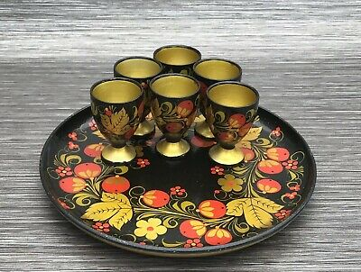 Lacquered Hand Painted Vintage Egg Cups x 6 & Tray - Papier Mache