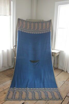 Antique Shawl Blue Paisley French woven large RARE fabric circa 1850 52x122 inch