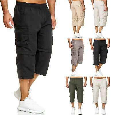 New Mens 3/4 Long Shorts to Knee Length Zip Off Elasticated Cargo 2 in 1 Summer