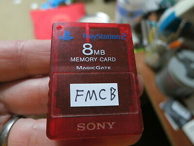 FMCB Red Transparent Official Sony PlayStation 2 Memory Card. Free Mcboot PS2