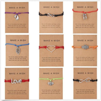 Wish String Charm Adjustable Bracelet Make a Wish Friendship Heart Gift Card US