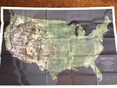 1976 National Geographic Map Portrait USA Color first Photomosaic map 48 States