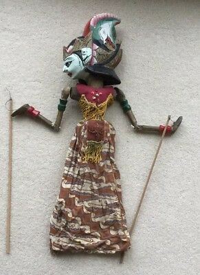Collectable Hand Made  & Decorated Vintage Indonesian Stick Puppet Doll