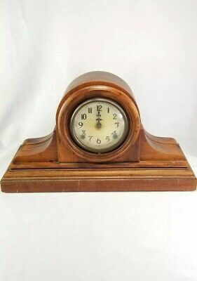 Vintage Ingraham 8 Day Chiming Mantle Table Wood Brass Clock Key Pendulum Part