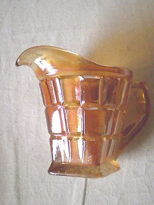 Vintage Carnival Glass  Cream / Milk Jug Panel Side Diamond Shape Base