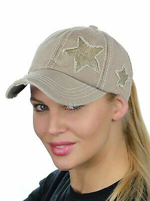 C.C Ponycap Messy High Bun Ponytail Adjustable Glitter Star Distressed Baseball