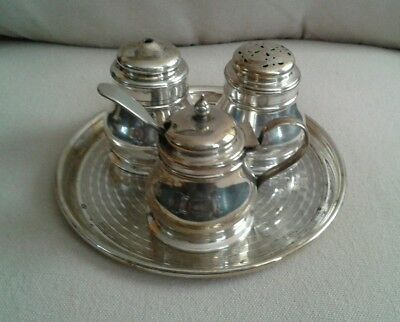Vintage Epns Condiment Set With Tray